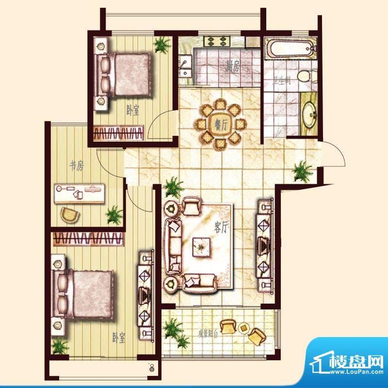 东方帝景城A户型 3室面积:115.00平米