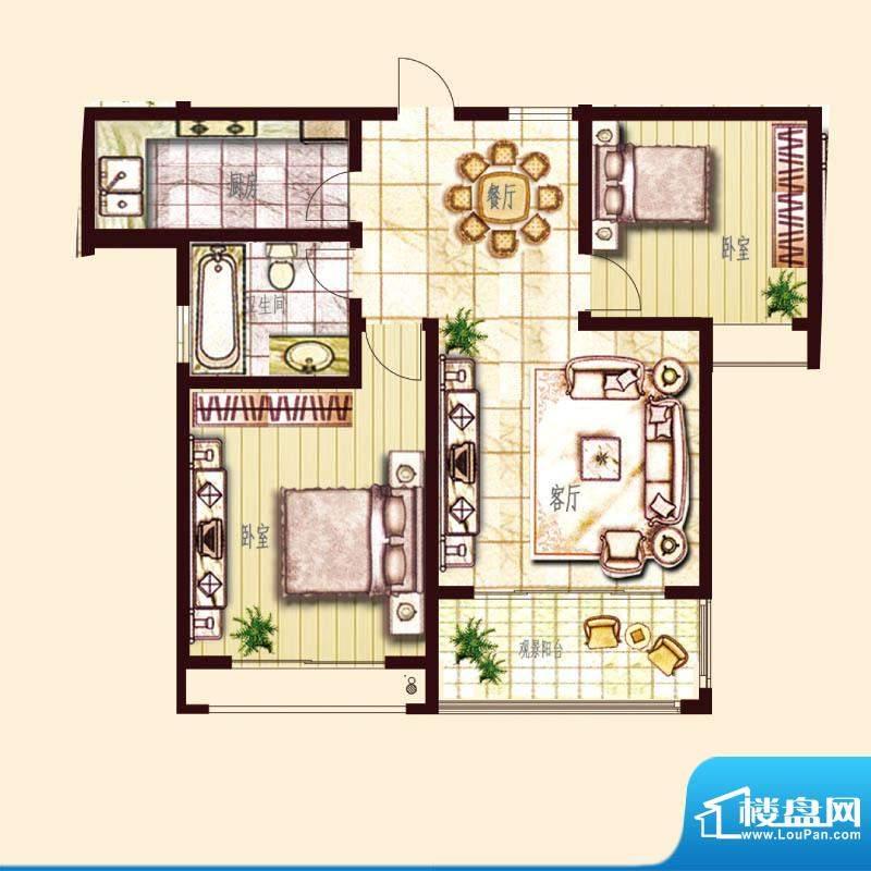 东方帝景城B户型 2室面积:99.00平米