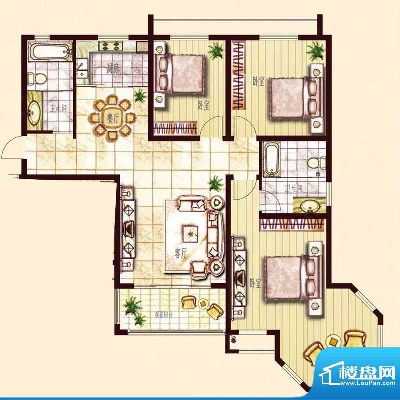 东方帝景城C户型 3室面积:145.00平米
