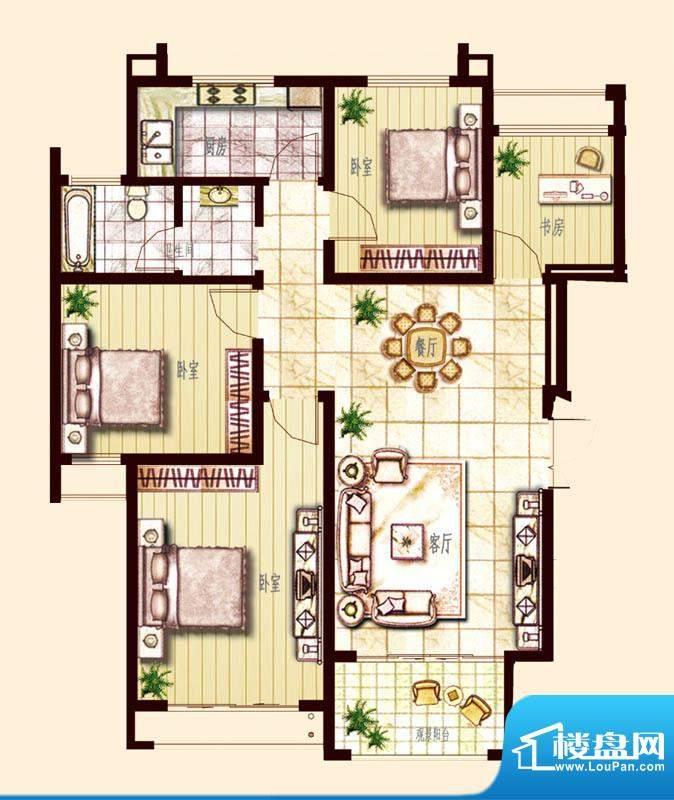 东方帝景城D户型 3室面积:120.00平米