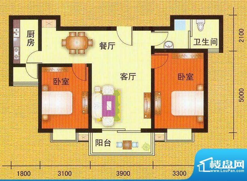 万宁城市景苑C户型 面积:95.00平米