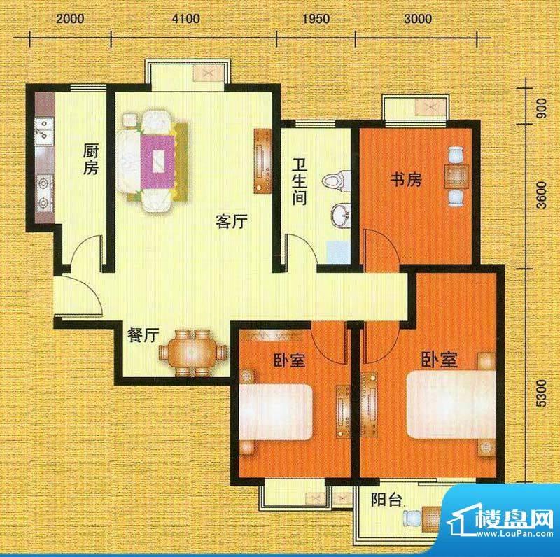 万宁城市景苑K户型 面积:113.00平米