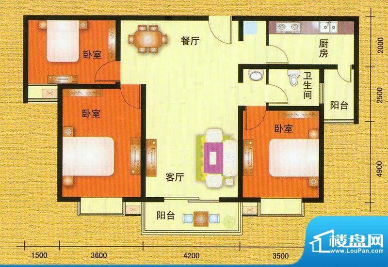 万宁城市景苑E户型 面积:125.00平米