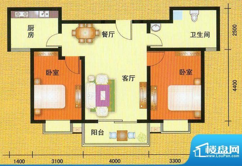 万宁城市景苑L户型 面积:93.00平米
