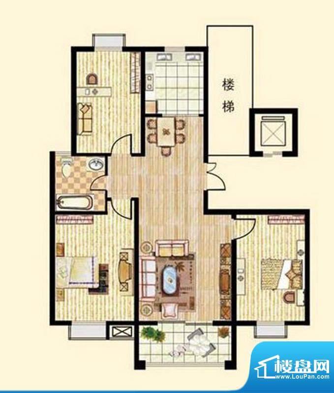 中和龙郡E1户型三室面积:148.00平米