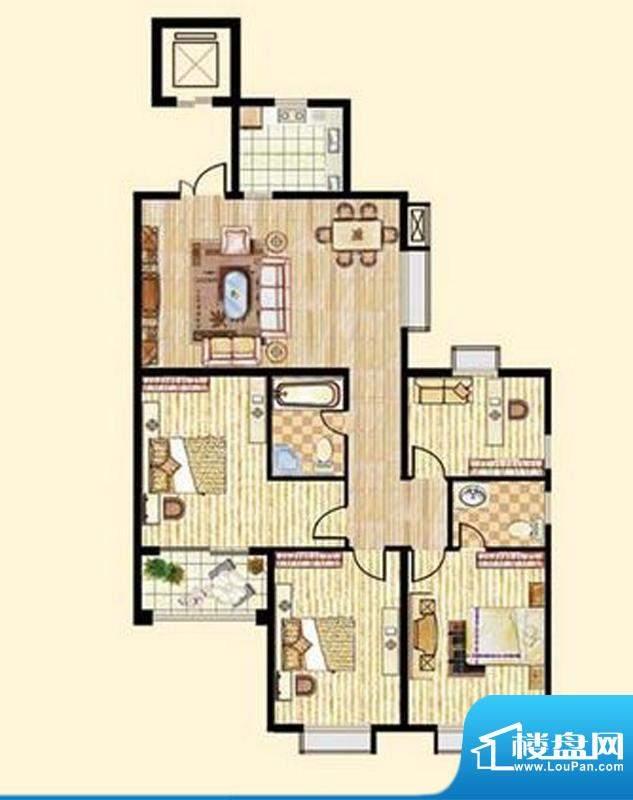 中和龙郡E2户型四室面积:163.05平米