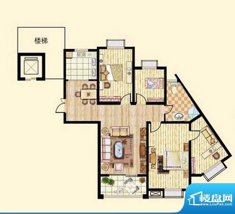 中和龙郡F2户型四室面积:130.80平米