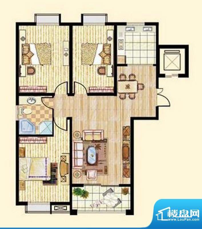 中和龙郡D1户型三室面积:126.15平米
