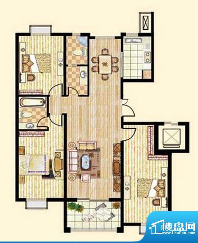 中和龙郡C2户型三室面积:147.96平米