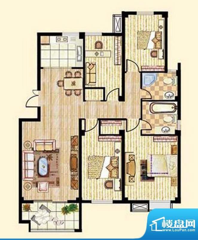 中和龙郡B1户型四室面积:142.00平米