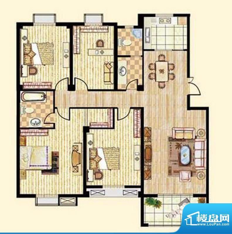 中和龙郡A2户型四室面积:159.00平米