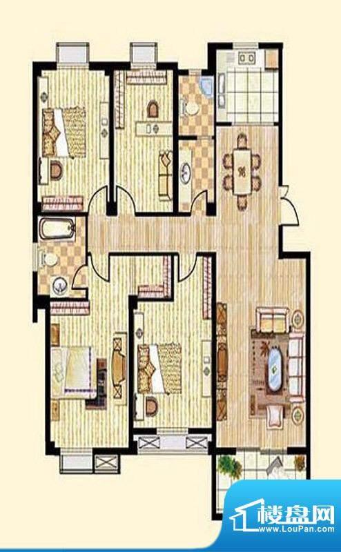 中和龙郡A1户型四室面积:158.00平米