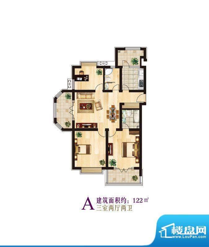 宜家庭院户型2三室两面积:122.00平米