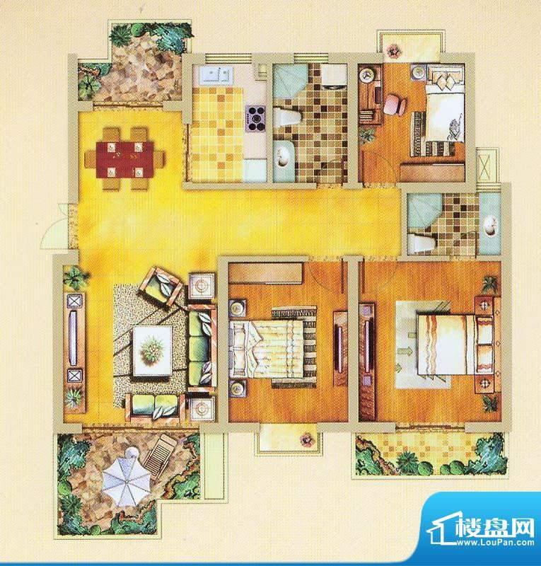 奥体清华苑花园洋房面积:121.00平米