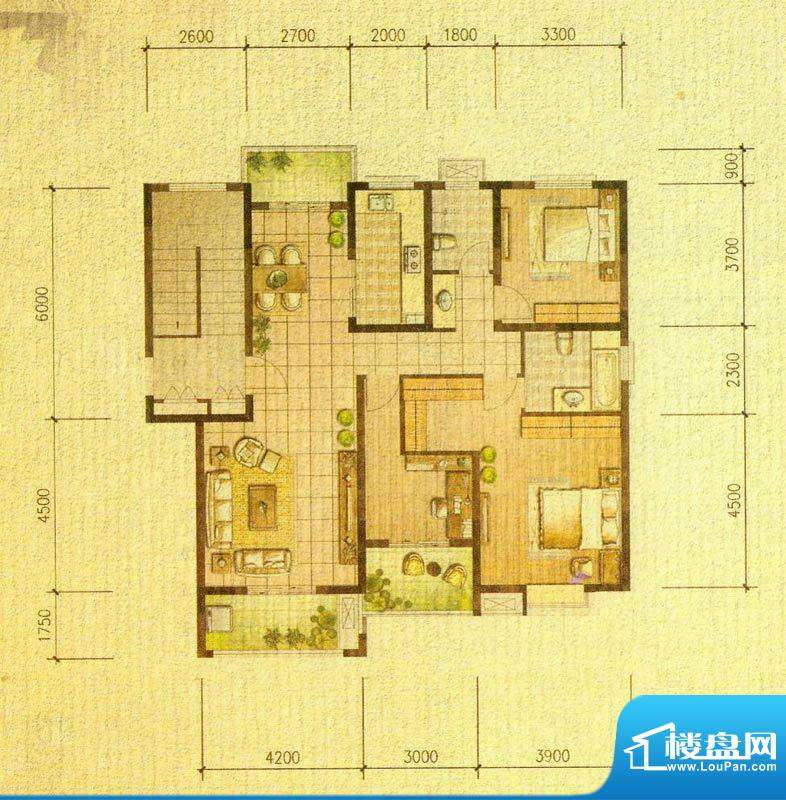国信金邸世家C 3室2面积:125.00平米