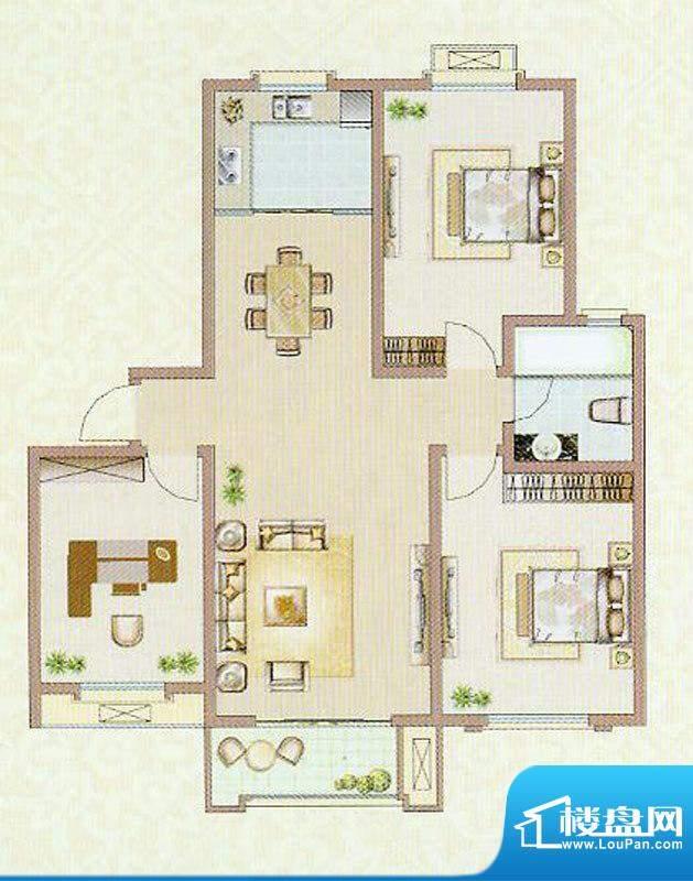达信国际X3户型 3室面积:116.84平米