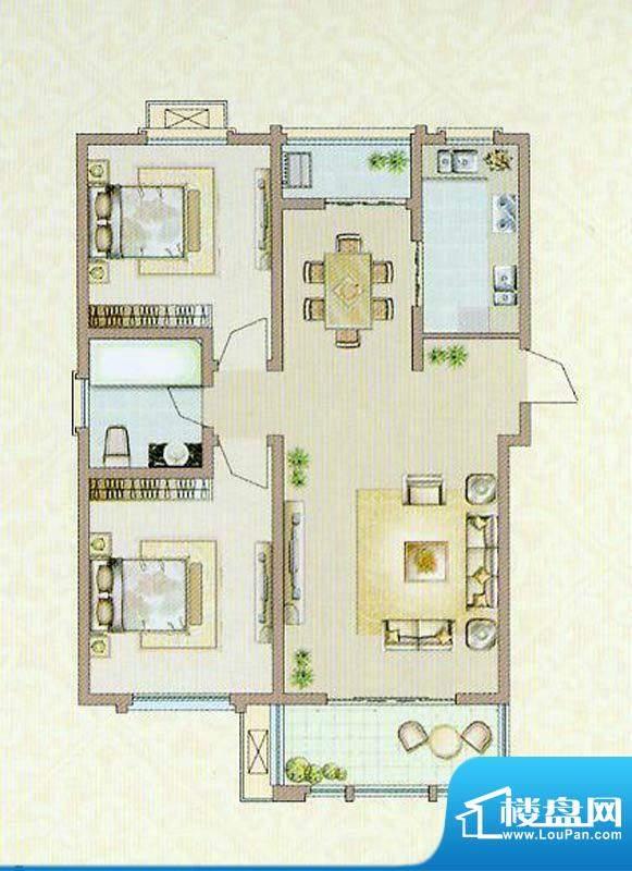 达信国际A1户型 2室面积:96.02平米