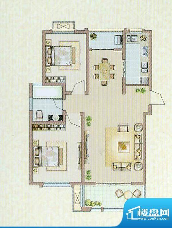 达信国际A户型 2室2面积:92.13平米