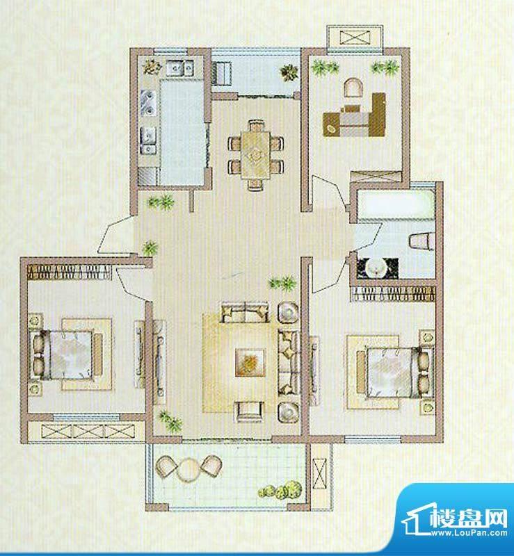 达信国际B户型 3室2面积:106.69平米