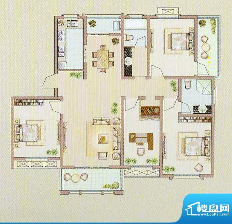 达信国际D户型 4室2面积:139.89平米