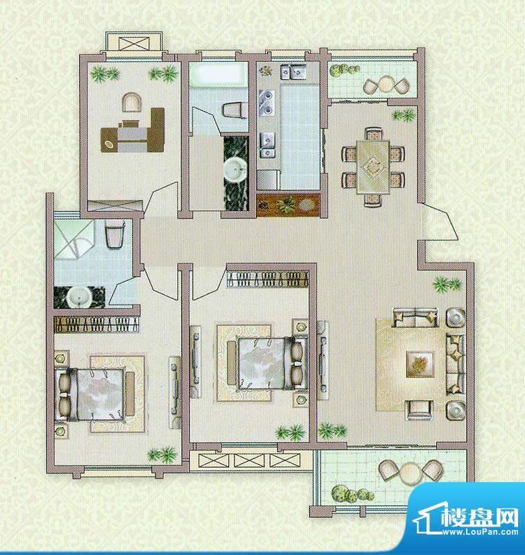 达信国际E户型 3室2面积:125.00平米