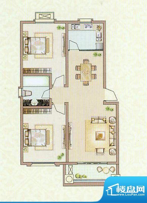 达信国际X1户型 2室面积:100.94平米