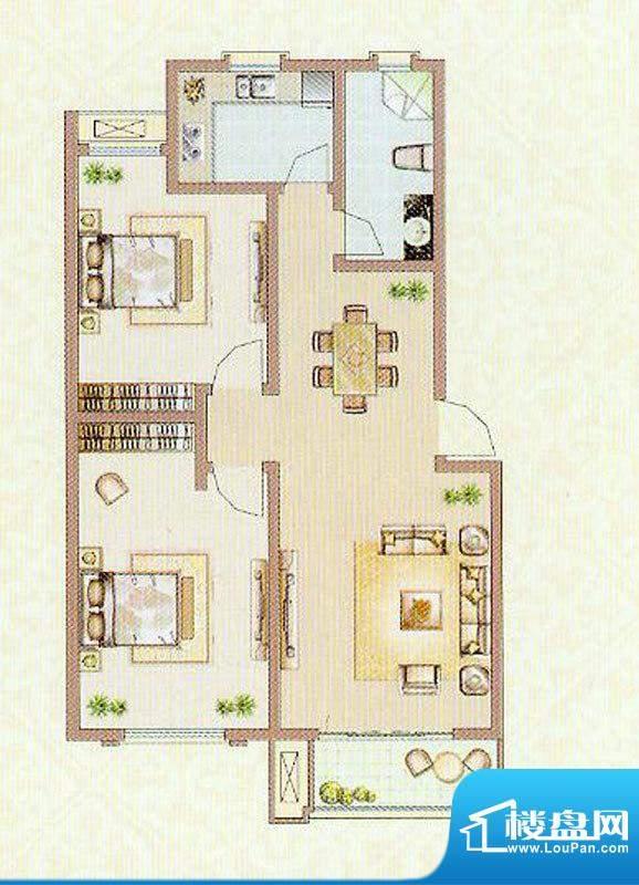 达信国际X2户型 2室面积:101.93平米