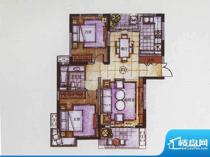 广陵世家F1户型 2室面积:99.22平米