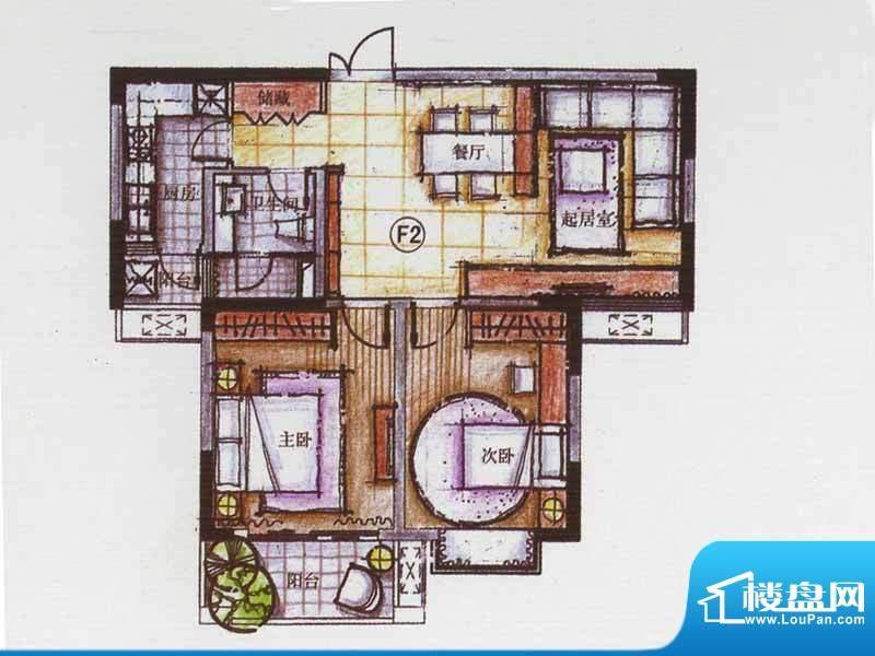 广陵世家F2户型 2室面积:90.78平米