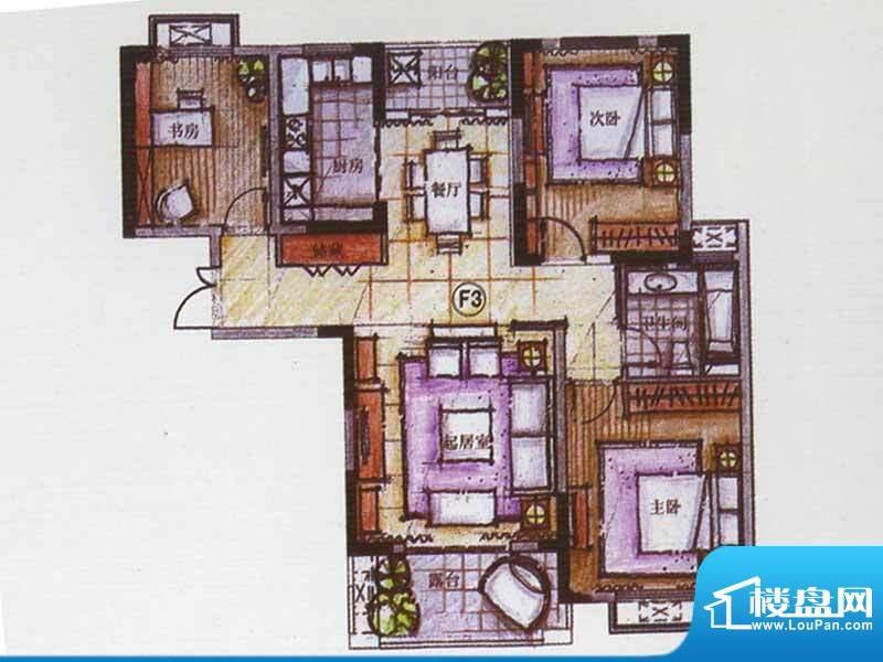 广陵世家F3户型 3室面积:115.73平米