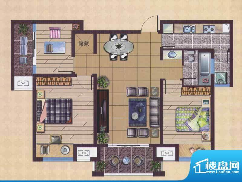 广陵世家A3户型 3室面积:99.88平米