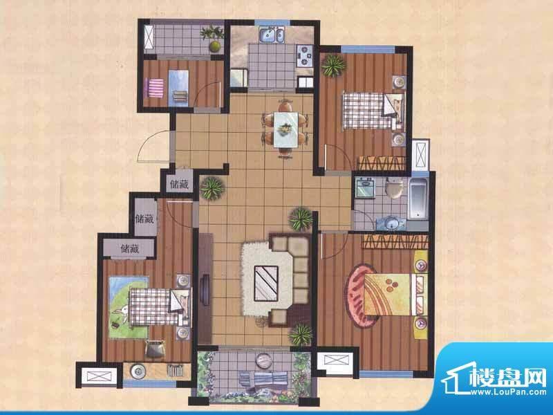 广陵世家B2户型 4室面积:131.40平米