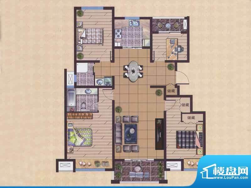 广陵世家C3户型 4室面积:144.34平米