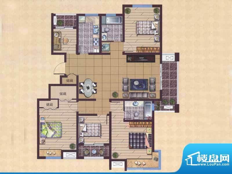 广陵世家D户型 5室2面积:159.25平米