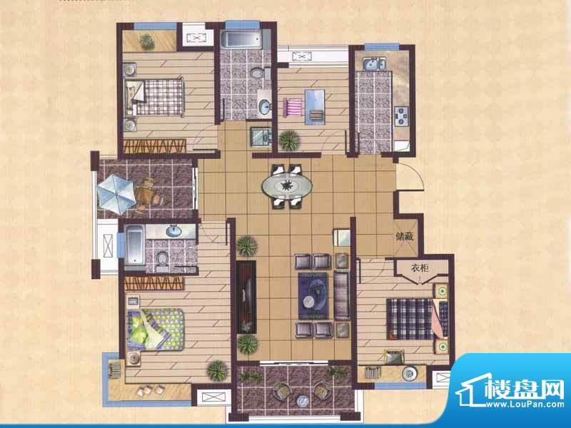 广陵世家D1户型 4室面积:149.71平米