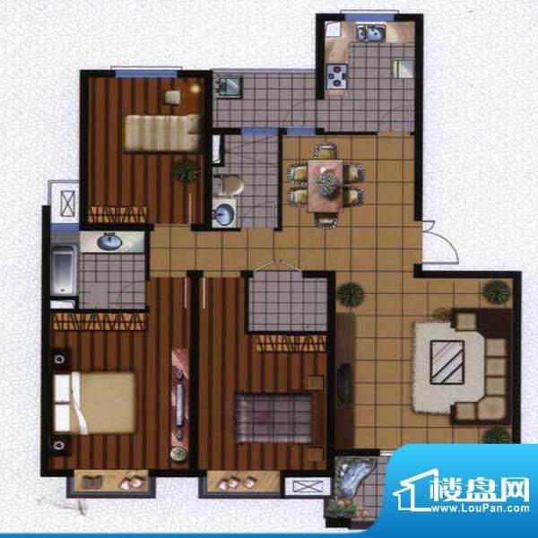 广陵世家A1户型 3室面积:134.23平米