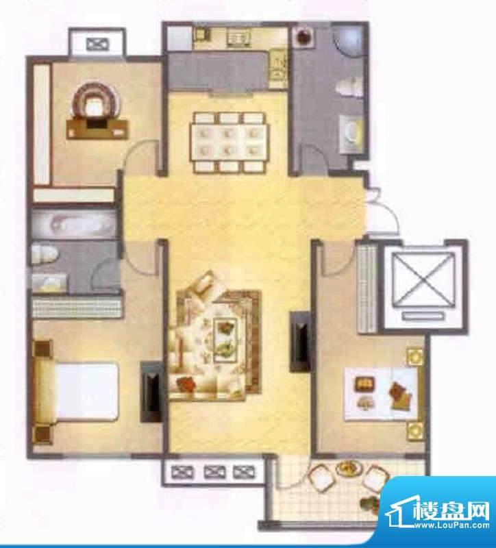左岸人家K4户型 3室面积:120.00平米