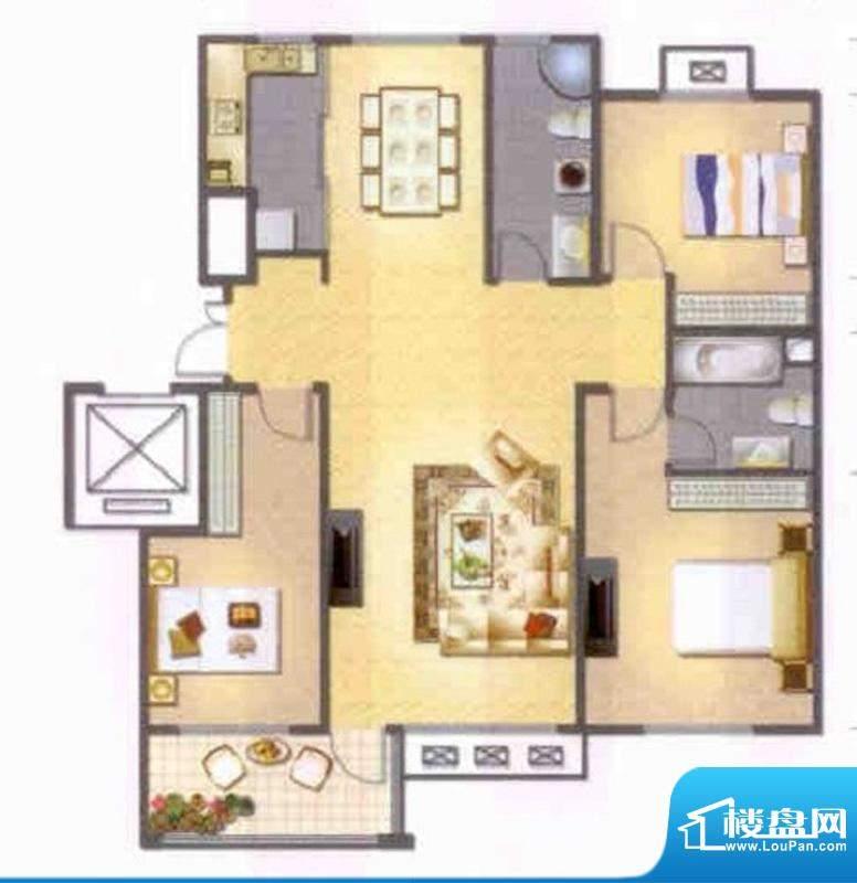 左岸人家K3户型 3室面积:137.00平米