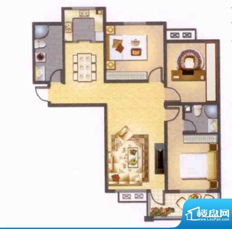 左岸人家J户型 3室2面积:123.00平米