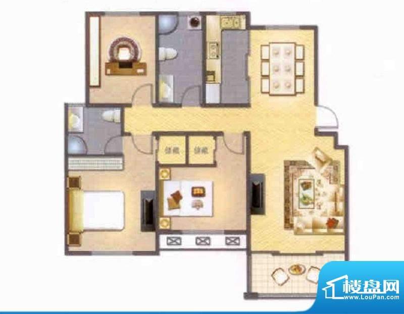 左岸人家H户型 3室2面积:123.00平米