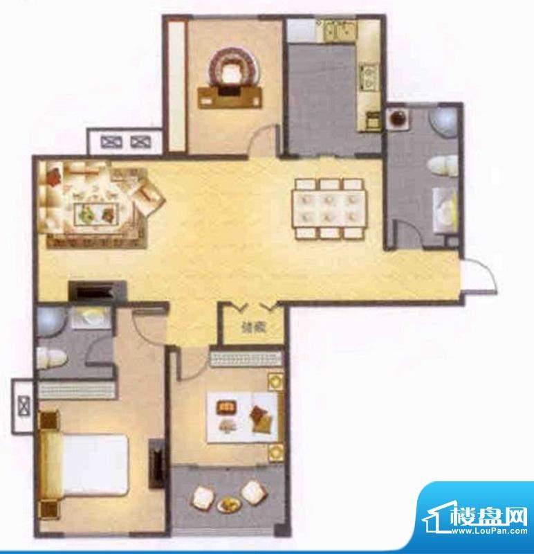 左岸人家M户型 3室2面积:129.00平米