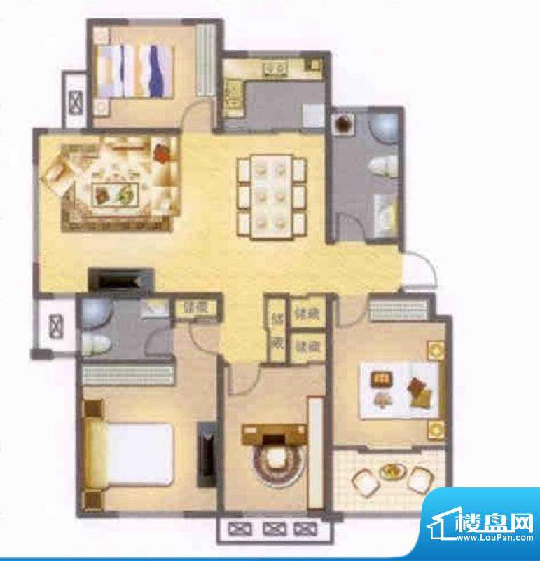 左岸人家L户型 4室2面积:132.00平米