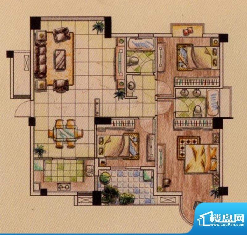 富贵第一城A户型 3室面积:136.00平米