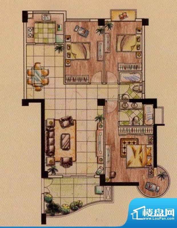 富贵第一城E户型 3室面积:132.00平米
