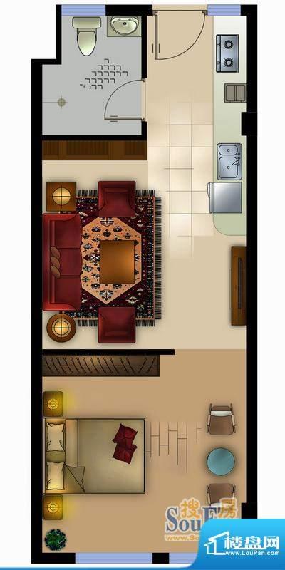 正德君城G1户型 1室面积:52.00平米
