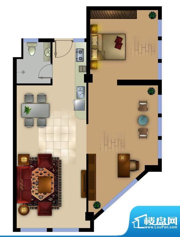 正德君城G2户型 2室面积:101.00平米