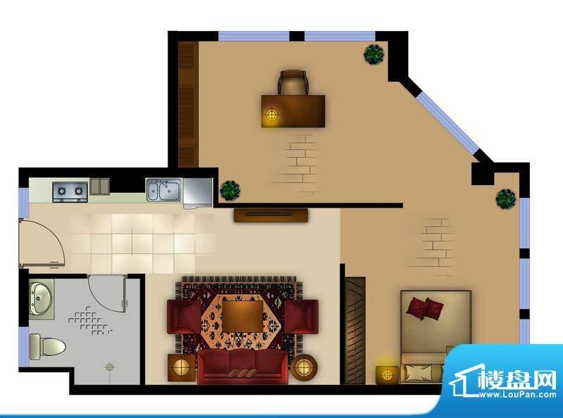 正德君城G3户型 2室面积:74.00平米