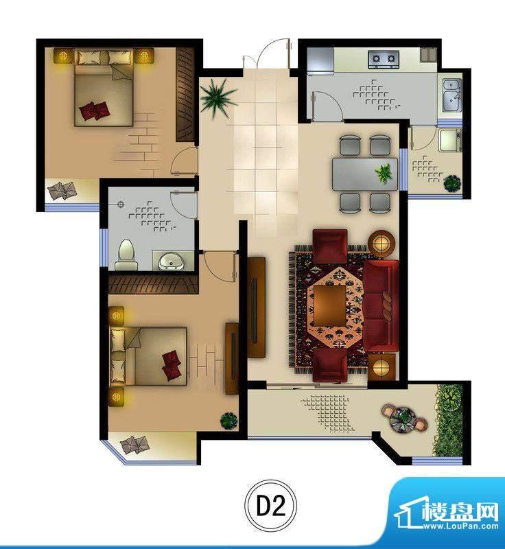 正德君城D2户型 2室面积:88.90平米