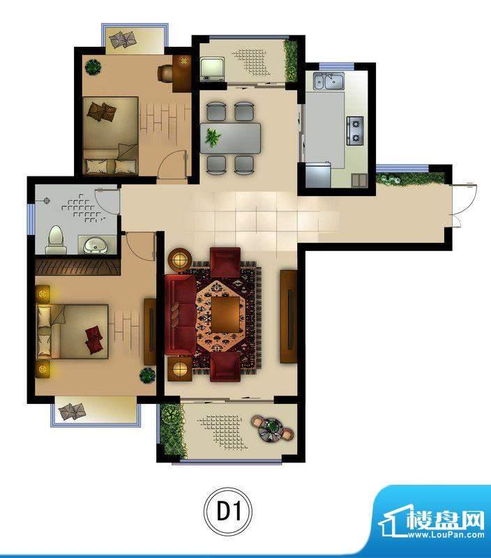 正德君城D1户型 2室面积:89.20平米
