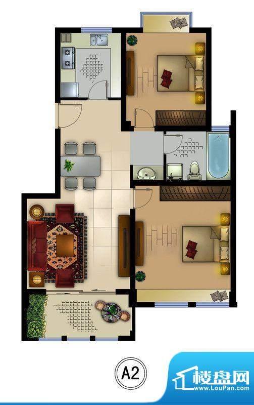 正德君城A2户型 2室面积:87.50平米